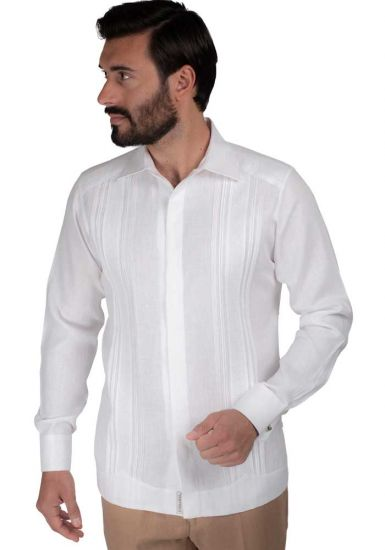 Guayabera Long Sleeve  Double Eyelet for use of Cufflinks. 100% Linen. White Color. Wedding Shirt, Back Orders or Demand.
