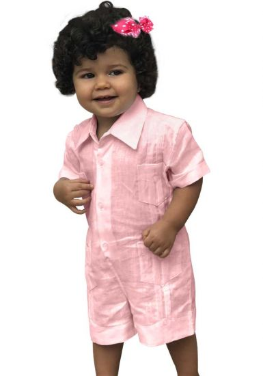Cotton 100 % Short Baby Girl Light Pink Romper. (Algodon 100 %).  Unique US !