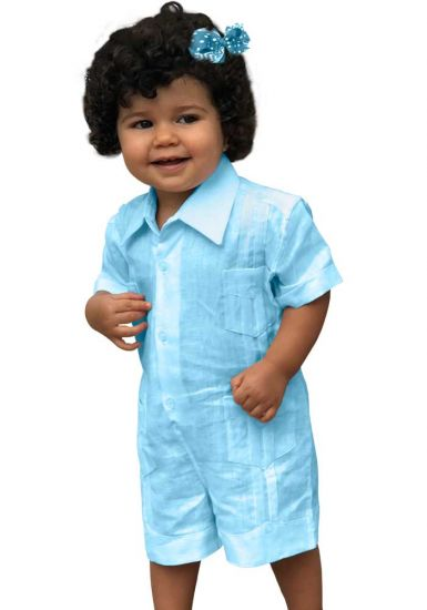Baby Light Blue Short Romper. Cotton 100 % (Algodon 100 %).  Unique US ! Back orders or Demand.