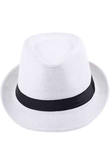 Fedora Beautiful White Straw Hat. Cuban Style. Cubanito Party