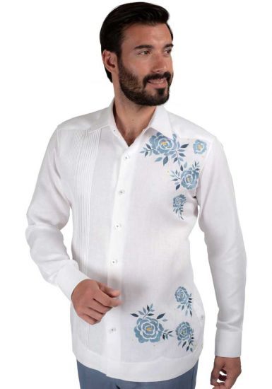 FLOWER Deluxe Guayabera  Shirt. Linen 100 %. Excellent Quality. Back Orders or Demand.