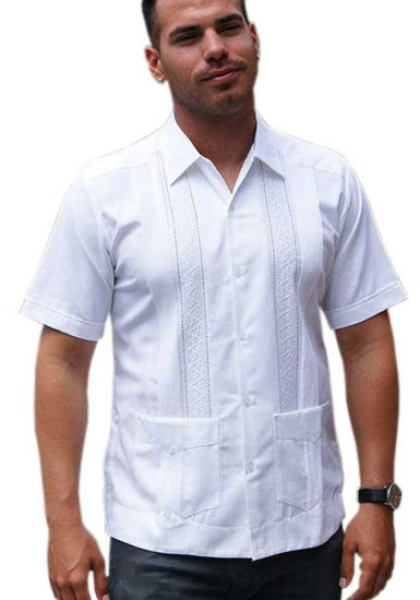Mens Embroidered Linen italia Guayabera. Slim Fitting