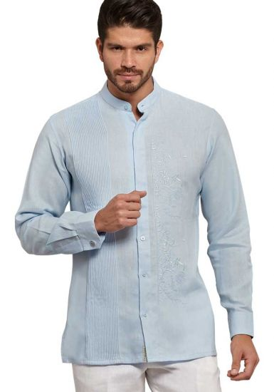 Chinese Collar Shirt. Wedding Style. Collar - MAO. Hidden Button. Italian Premium 100 % Linen. Blue Color. Back Orders or Demand.