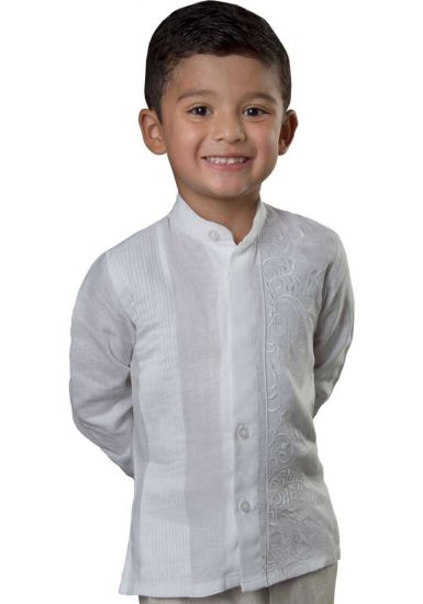 Chinese Collar Shirt for Kids. Wedding Style. Collar - MAO. Italian Premium 100% Linen. White Color. Back Orders or Demand. RUN SMALL.