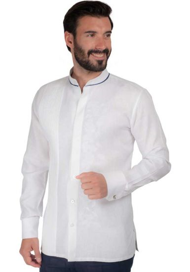 MAO Feature Chinese collar shirt with navy blue edge. Wedding Style.  White Color. Back Orders or Demand.
