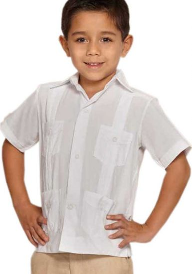 MEXICAN GUAYABAERA SHIRT FOR KIDS WHITE. LINEN 100 %