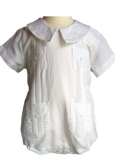 Linen 100 %. Body Romper for Infants. Baby Guayabera. Button Closure in the Legs. Pure White. Linen Blend. White Color. Unisex !