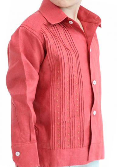 Kids Formal Guayabera. Dress Shirt  for Large and Formal Events. Deluxe Linen 100 %. Back Orders or Demand. Coral Color. RUN SMALL.