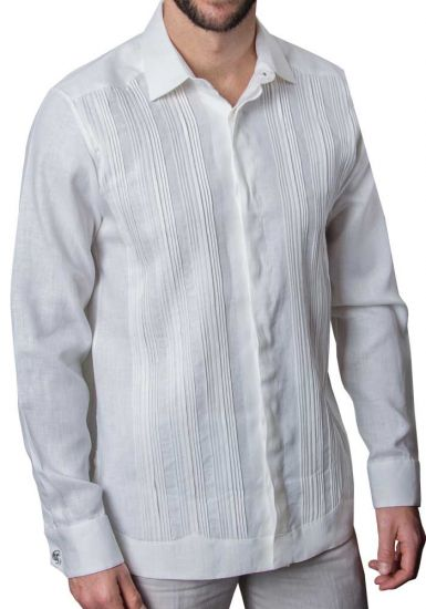Formal Guayabera Tucks Shirt. Pleats Exquisite Design. Hidden Buttons. Double Eyelet for use Cufflinks. Back Order. White Color.