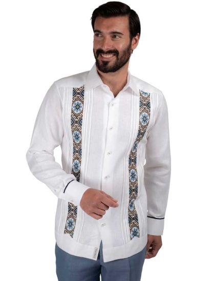 Trending Guayabera. Embroidery Guayabera Slim Fit. Linen 100 %. Elegant Guayabera for Destination Wedding. Double Eyelet for use Cufflinks. White Color. Back Orders or Demand.