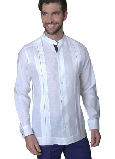 Mao Collar Linen Guayabera. No pockets. Deluxe party Guayabera. Pure Linen. High Quality. Feature in Navy Blue