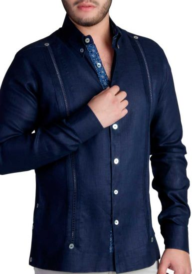 Exquisite Guayabera. Premium Linen Guayabera. Double Eyelet for use Cufflinks. Navy Color. Back Orders or Demand.