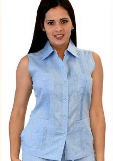 Guayabera Blouse Women. NO Sleeve Linen Guayabera for Ladies. Runs Small. Blue Color.