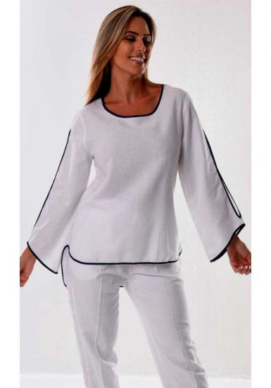 SET Ladies Beautiful blouse 3/4 Sleeves & Drawstring Pants for Ladies. Linen/Cotton. White Color.