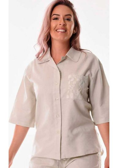 Ladies Beautiful blouse 3/4 Sleeves. Pocket with detail. Natural Color.