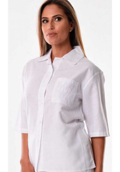 Ladies Beautiful blouse 3/4 Sleeves. Pocket with detail. White Color.