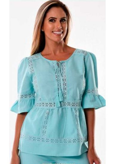 Beautiful blouse with Lace.  Sleeves 3/4. Perfect Fit. Runs Normal. Party Blouse. Plus Size. Mint color.