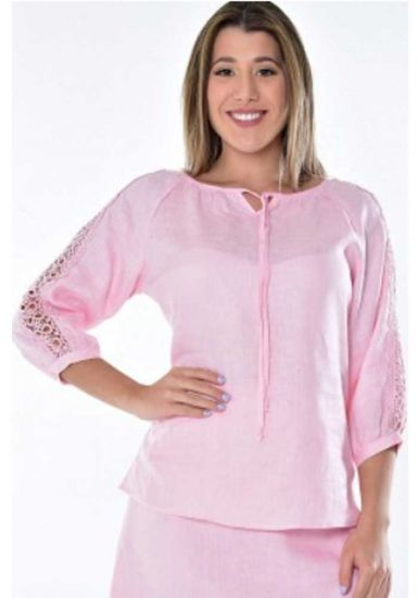 Feature Lace Sleeve Blouse. Linen 100 %. Excellent Design. Beautiful for Ladies. Pink Color.