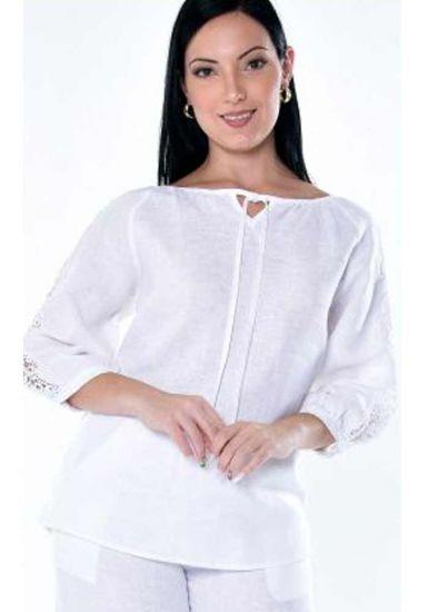 Feature Lace Sleeve Blouse. Linen 100 %. Excellent Design. Beautiful for Ladies. White Color.