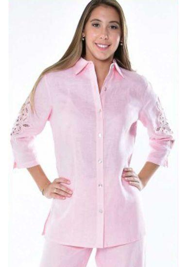 Richelieu Blouse. Perfect Fit. Feature Lace Sleeve Blouse. Beautiful Design. RUNS NORMAL. Pink Color.