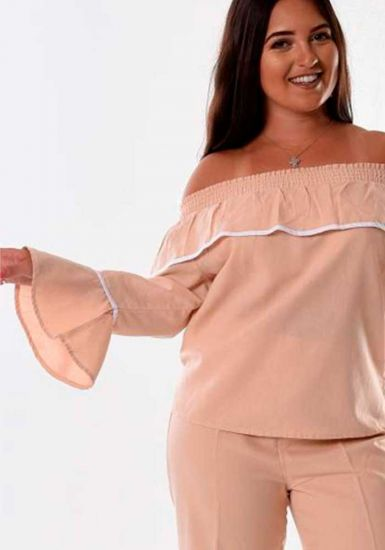 Latin Style Blouse. Off the shoulder Blouse. Cuban Style. Latin Parties. Beige/White Color.