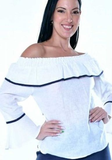 Latin Style Blouse. Off the shoulder Blouse. Cuban Style. Latin Parties. White/Navy Color.