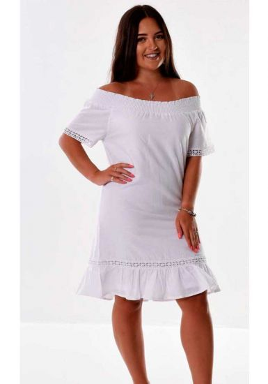 Latin Style Dress. Off the shoulder Dress. Cuban Style. Latin Parties. White Color.