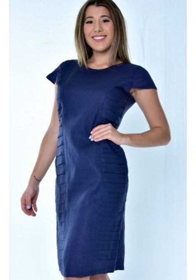Linen Party Dress. Perfect Fit. Pleats on the Side. High Quality Dress. Linen Dress with Pleats. Navy Color.