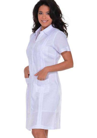 Guayabera Dress Short Sleeve. 100% Linen. Cuban Party Guayabera Dress. Run Small. White Color.
