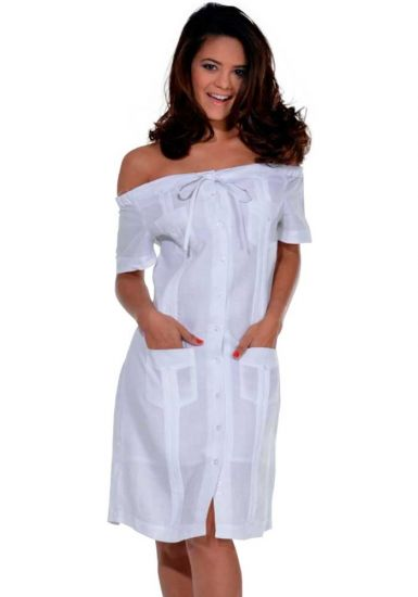 Cuban Party Off the Shoulder Sexy Guayabera Dress. Linen 100 %. Run Small. White Color.