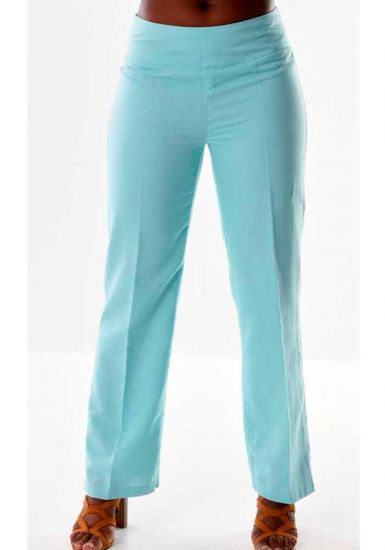Pants for Ladies adjustable waist with elastic. Linen/Cotton. Beautiful fit. Mint Color.