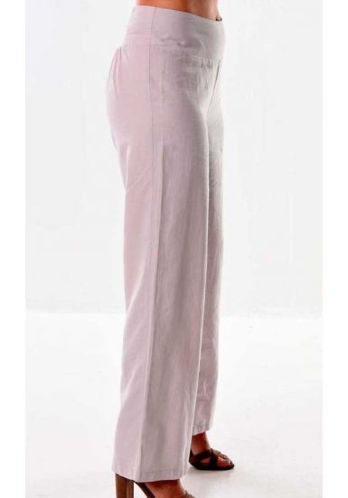 Pants for ladies adjustable waist with elastic. Linen/Cotton. Beautiful fit. Pink Rose Color.