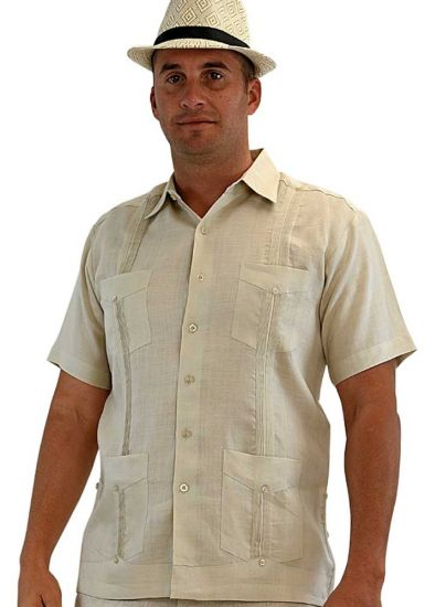 Cuban Party Guayabera Short Sleeve. Regular Linen. Natural Color.