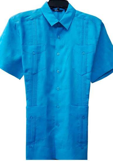 Party Cuban Short Sleeve. Guayabera. Regular Linen. Blue Color.