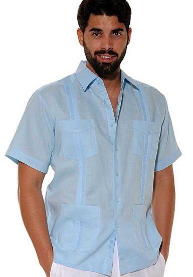 Cuban Party Guayabera Short Sleeve. Regular Linen. Light Blue Color.
