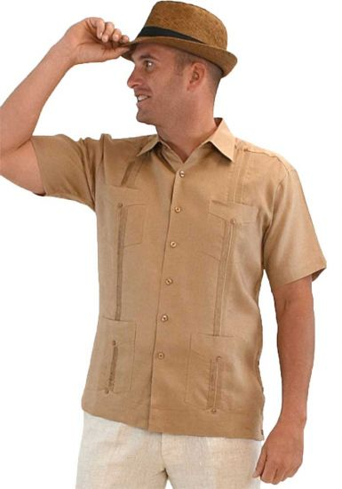 Cuban Party Guayabera Short Sleeve. Regular Linen. Light Bronw Color.