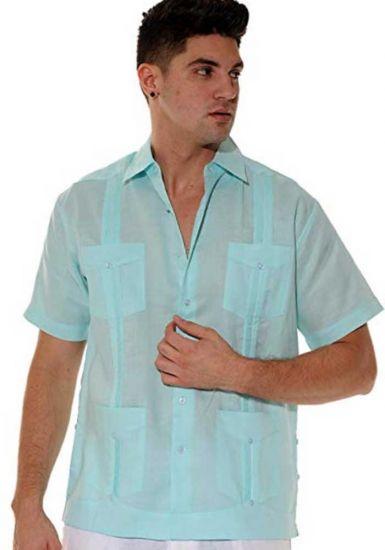 Cuban Party Guayabera Short Sleeve. Regular Linen. Mint Color.
