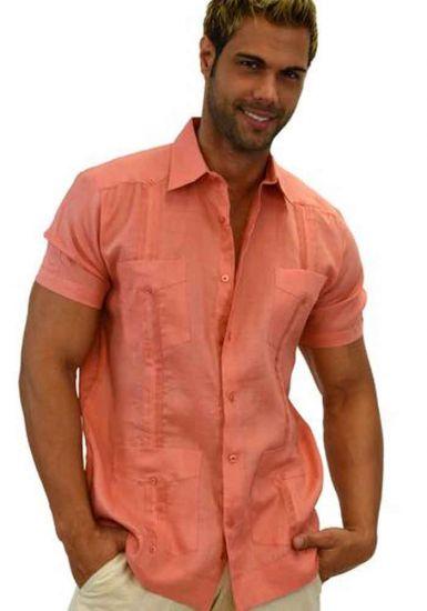 Cuban Party Guayabera Short Sleeve. Regular Linen. Coral Color.