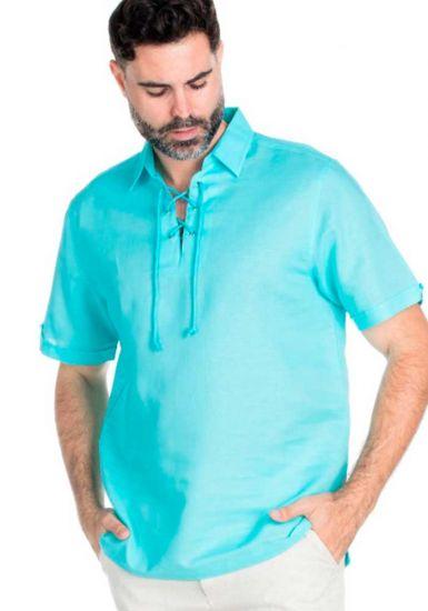 Men's Linen & Cotton Up Neckline Short Sleeve Shirt. Aqua Color.