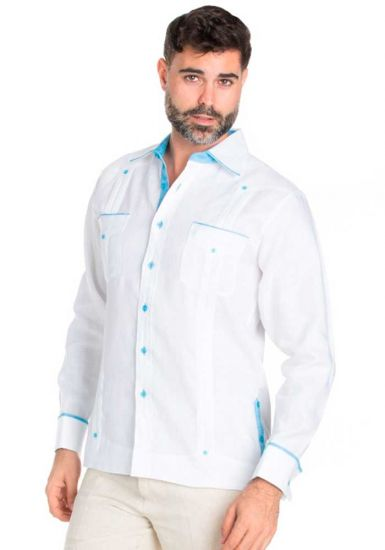 Fashion Guayabera Shirt Long Sleeve. Guayabera  Multi Constract Collar shirt. White/Aqua Color.