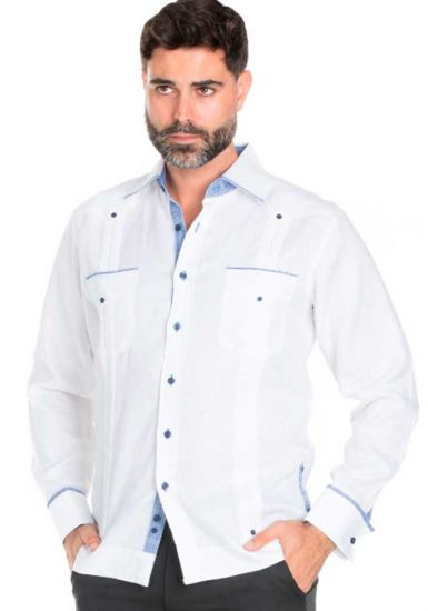 Fashion Guayabera Shirt Long Sleeve. Guayabera  Multi Constract Collar shirt. White/Navy Blue Color.