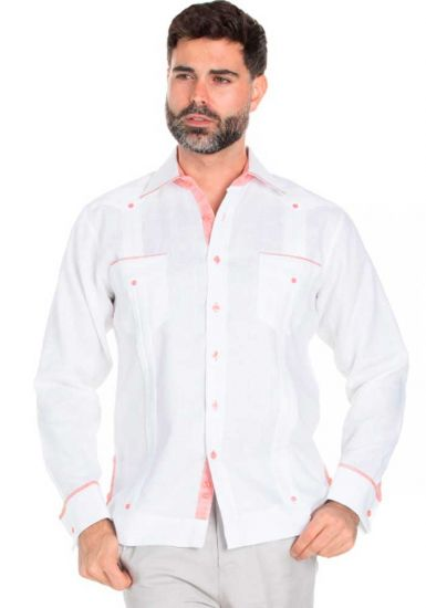 Fashion Guayabera Shirt Long Sleeve. Guayabera  Multi Constract Collar shirt. White/Salmon Color.