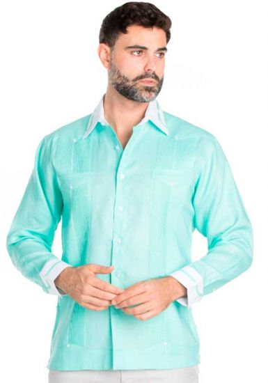 100% Linen Guayabera Shirt Long Sleeve.  Constract Cuff,  Collar with Trim. Mint Color.