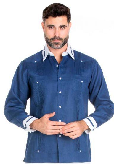 Men's Stylish Big & Tall 100% Linen Guayabera Shirt Long Sleeve. Constract Cuff, Collar with Trim. Navy Color.
