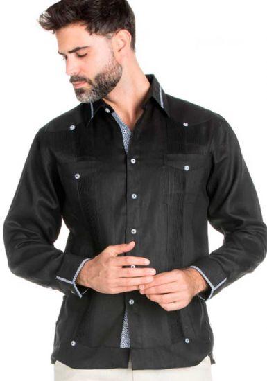Black Beautiful Linen 100 % Guayabera  Multi Constract Collar shirt.  Men's Stylish Shirt. Black Color.