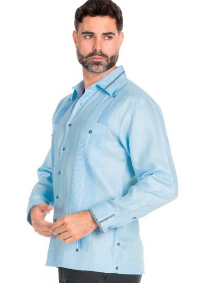 Beautiful Linen 100 % Guayabera  Multi Constract Collar shirt.  Men's Stylish Shirt. Light Blue Color.