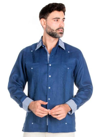 Stylish 100% Linen Guayabera Shirt Long Sleeve. Guayabera  Multi Constract Collar shirt. Navy Blue Color.