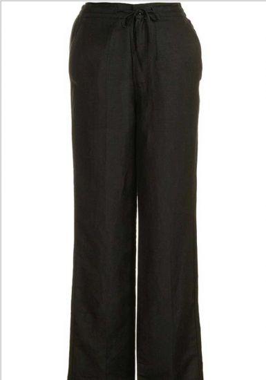 Drawstring Pants for Men Linen Look. Black Color.