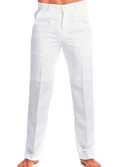 Men's Resort Lounge Casual. Linen & Rayon Look. White Color.
