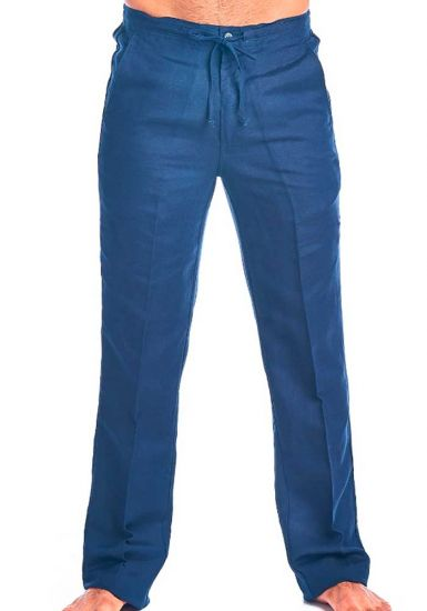 Drawstring Pants for Men. Linen Look. Runs One size Small. Navy Color.